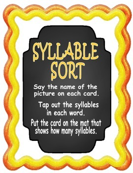 Syllable Sort (1,2,3 and 4 syllables)