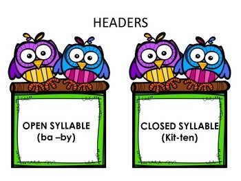 Syllable Sort 2 - More Open and Closed