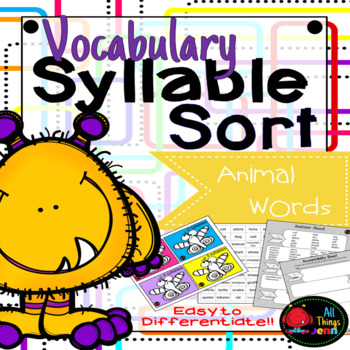 Vocabulary Syllable Sort-Animal Words