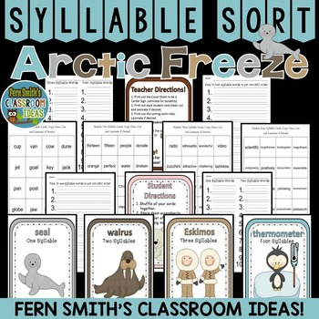 Winter Arctic Freeze Syllable Sort Center Games