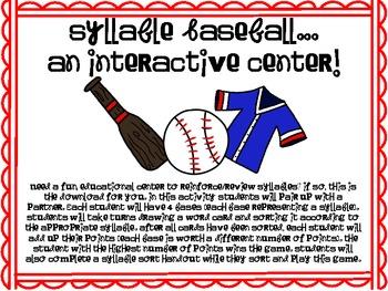Syllable Sort Baseball Center