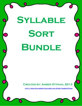 Syllable Sort Bundle 10 Activities (1 & 2 syllable words)