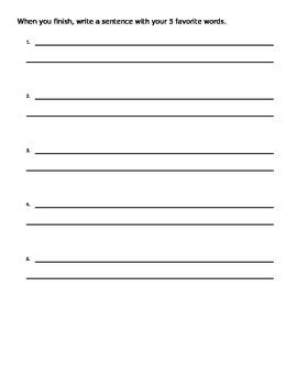 Syllable Sort Center Answer Sheet