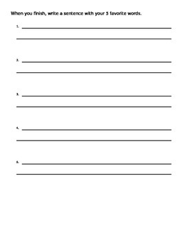 Syllable Sort Center Answer Sheet