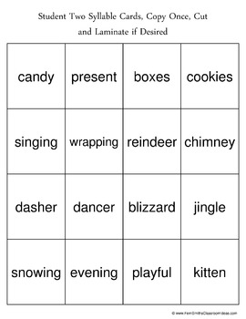 Christmas Syllable Sort Center Games