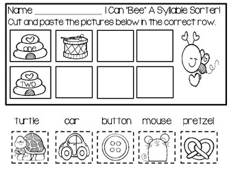 Syllable Sort - Cut And Paste Set 1