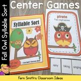 Fall Syllable Sort Center Games