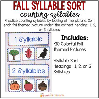 Syllable Sort {Fall Themed}