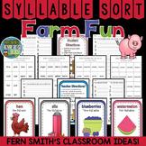Farm Syllable Sort Center Games