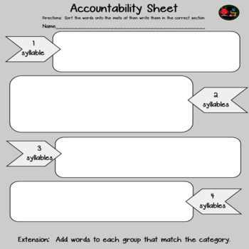 Vocabulary Syllable Sort- Food Words
