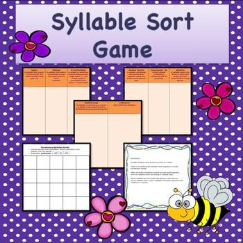 Freebie Syllable Sort Game