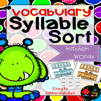 Vocabulary Syllable Sort-Kitchen Words