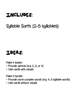 Syllable Sort- Literacy Center Activity (Special Education, Elementary, Autism)