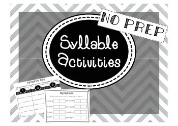 Syllable Sort- Pack of Literacy Centers and Activities
