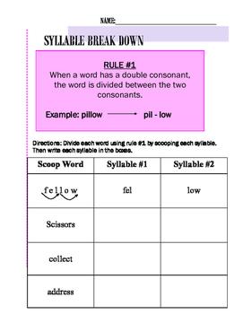Syllable Break Down Rule #1