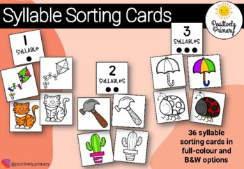 Syllable Sort - Sorting Cards - Color and Black and White Options