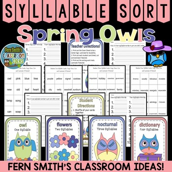 Spring Syllable Sort Center Games