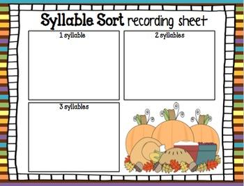 Syllable Sort (Thanksgiving Edition)