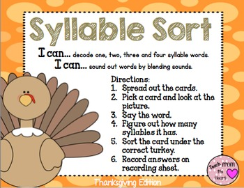 Syllable Sort (Thanksgiving Edition)