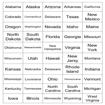 Vocabulary Syllable Sort-U.S. States