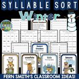 Winter Literacy Center Syllable Sort