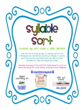 Syllable Sort and Recording Sheet