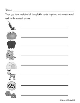 """Syllable Sort (for CCSS Unit 6, """"Around the World with a Glass Slipper"""")"""