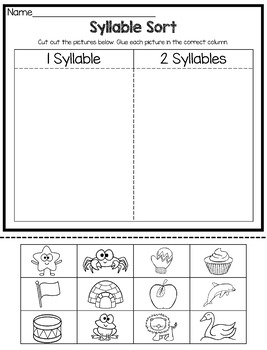 Syllable Sorting Activities