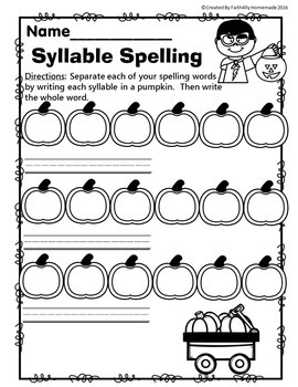 Syllable Spelling Pages (FREE)