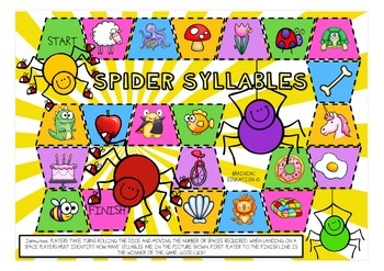Syllable Spiders Board Game