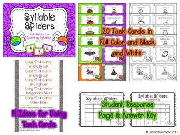 Halloween Task Cards: Syllable Spiders
