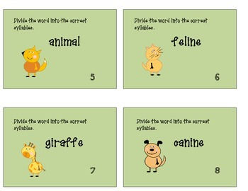 Syllable Task Cards : Animal Theme