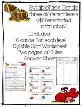 Syllable Task Cards—three different levels