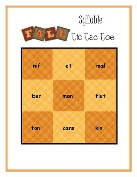 Syllable Tic Tac Toe