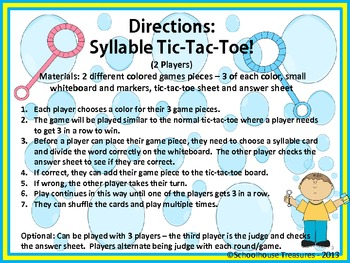Syllable Tic Tac Toe