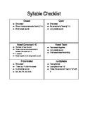 Syllable Type Checklist