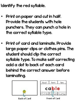 Syllable Type Clip Cards