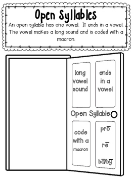 Syllable Type Interactive Notebook- Open and Tiger