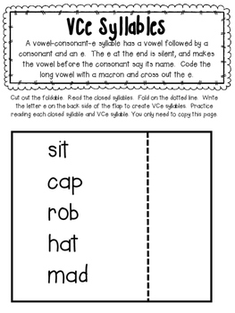 Syllable Type Interactive Notebook- VCe and VC/V Division Pattern