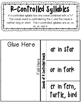 Syllable Type Interactive Notebook- Vowel R and Ostrich Division Pattern