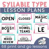 Syllable Type Lesson Plans: 78 Explicit Lesson Plans
