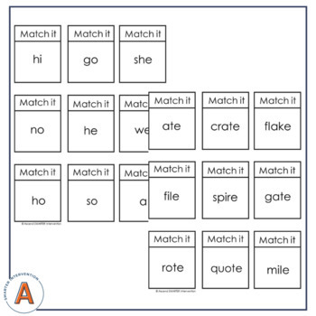 Syllable Type Sorts (Six Syllables)