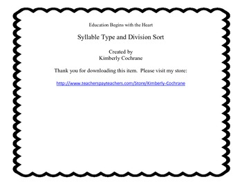 Syllable Type and Division Sort