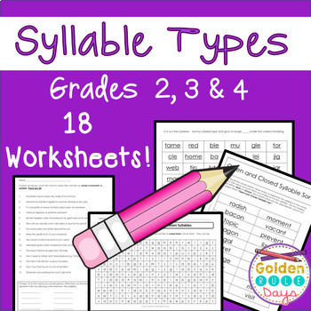 Syllable Types 18 Practice Worksheets 6 Types Grades 2 3 4 Tpt