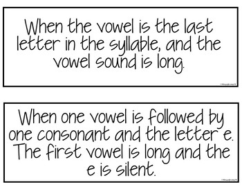 Syllable Types Anchor Chart