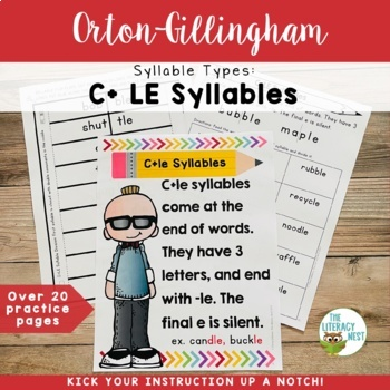 Syllable Types: C+LE Syllables Orton-Gillingham Multisensory Activities