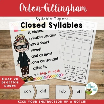 Syllable Types: Closed Syllables Orton-Gillingham Multisensory Activities