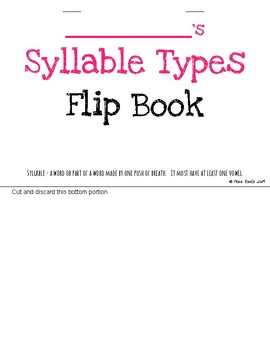 Syllable Types Flip Book l Orton Gillingham aligned