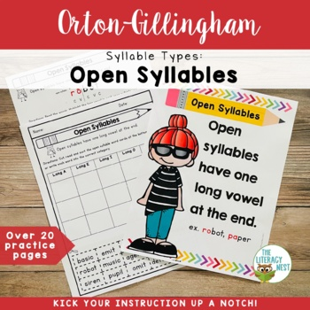 Syllable Types: Open Syllables Orton-Gillingham Multisensory Activities