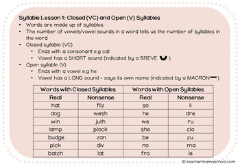Syllable Types & Syllable Patterns the Orton-G way : Notes for Teachers